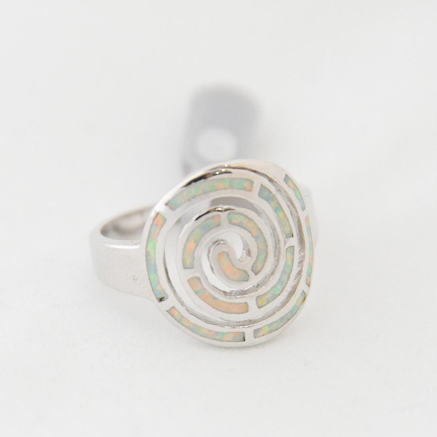 Δαχτυλίδι Σπείρα Μεγάλο Λευκό Οπάλ