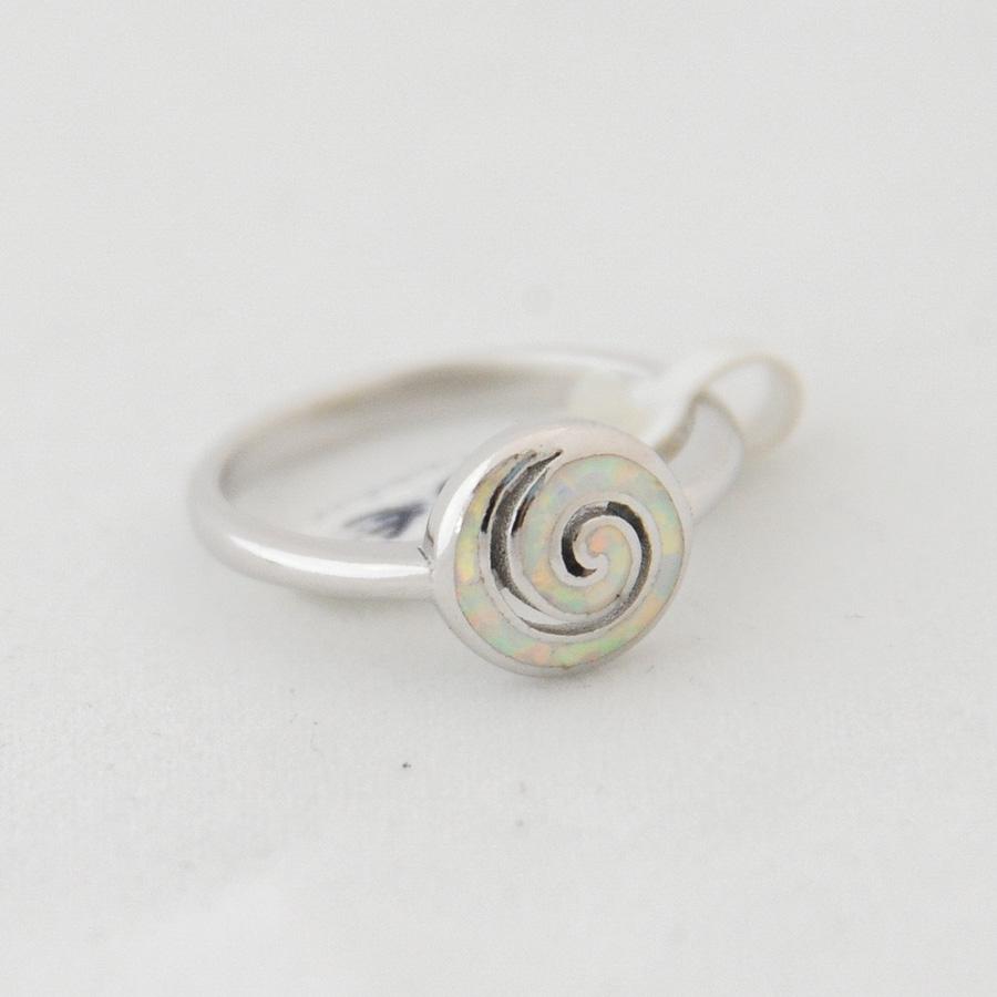 Δαχτυλίδι Σπείρα Μικρό Λευκό Οπάλ